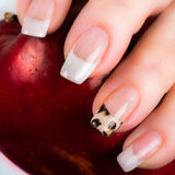 Nails with a French manicure and foil on one of the nail tips Stock Photography