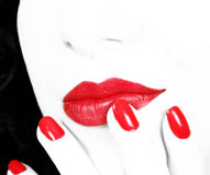 Nails and lips Stock Image