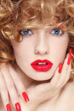 Nails and lipstick Royalty Free Stock Photography