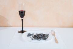 Nails lying on the plate.serving Stock Photo