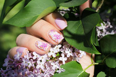 Nails with natural design - shilak Royalty Free Stock Photo