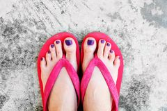 9b4eb9b31e9b Nails Pedicure. Selfie Woman's Sandals Feet with Violet Nail Pedicure of  Paint