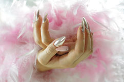 Nails pink and pearl with diamonds Royalty Free Stock Photography
