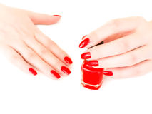 Nails with red varnish. Woman cover her nails with red varnish Stock Image