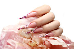 Nails with Rhinestones. And butterlfly Royalty Free Stock Images