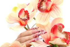 Nails with Rhinestones. And butterlfly Royalty Free Stock Photo