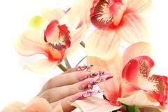 Nails with Rhinestones Royalty Free Stock Photo