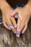 Nails with ribbons Royalty Free Stock Photos