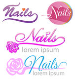 Nails saloon symbol set Royalty Free Stock Images