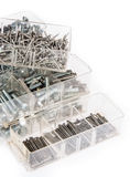 Nails and Screws in boxes Stock Image