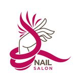 Nails studio or manicure salon vector flat icon template. Nails studio or manicure salon vector flat logo template. Isolated icon of woman hand and pink or red stock illustration