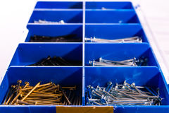 Nails Try Compartments Blue Tools Construction Metal Toolkit Box. Nails Try Compartments Blue Tools Construction Metal Toolkit Stock Images