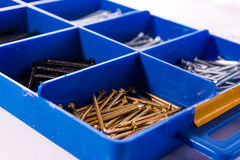 Nails Try Compartments Blue Tools Construction Metal Toolkit Box. Nails Try Compartments Blue Tools Construction Metal Toolkit Stock Photos