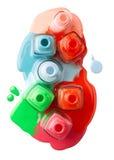 Nails varnish bottles on white background. Rose, red, blue. green, orange, white Stock Image