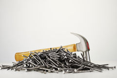Nails on white background Royalty Free Stock Photography