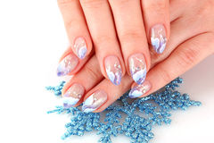 Nails with   winter design Royalty Free Stock Photography