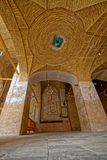 Nain old mosque architecture. NAIN, IRAN - MAY 6, 2015: Arcade hall of the old Jame mosque in Iran Royalty Free Stock Image