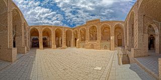 Nain mosque architecture. Beautiful inner courtyard buildings of the Jame mosque at Nain Stock Photo