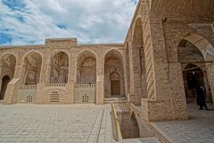 Nain old Jameh mosque architecture. Beautiful inner courtyard buildings of the Jame mosque at Nain Royalty Free Stock Photo