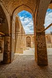 Nain old mosque architecture. NAIN, IRAN - MAY 6, 2015: Arcade hall passages of the old Jame mosque Stock Image