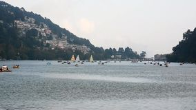 Naini Lake at Nainital stock footage