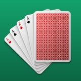 Naipe del póker de cuatro aces en la mesa de juegos Fondo grande del vector del juego del triunfo del casino Imagen de archivo