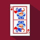 Naipe la imagen del icono es fácil REINA DEL CORAZÓN AÑO NUEVO DE LA MUCHACHA DE MISISS SANTA CLAUS TEMA DE LA NAVIDAD con blanco libre illustration