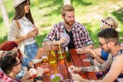 Naipes al aire libre con las bebidas y los amigos foto de archivo libre de regalías