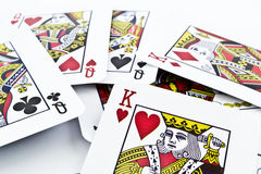 Naipes de la cartulina para los juegos de tarjeta Fotografía de archivo