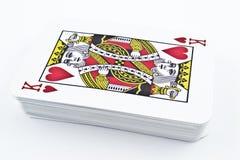 Naipes de la cartulina para los juegos de tarjeta - rey Hearts Imagenes de archivo