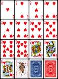 Naipes - juego de los corazones Foto de archivo libre de regalías