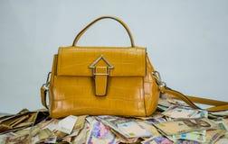 Naira σωρός μετρητών με την τσάντα των γυναικών - έννοια του υψηλού κόστους μόδας στοκ φωτογραφία