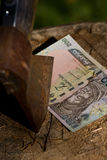 A naira banknote being cut with an axe Stock Photo
