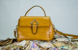 Naira cash heap with womens bag - concept of high fashion cost stock photography