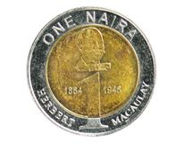 1 Naira coin, 2003~2006 - 4th Circulation series, Bank of Nigeria. Obverse, issued on 2006. Isolated on white royalty free stock photos