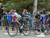 Nairo Quintana - The Winner of Tour de Catalunya 2016. Barcelona, Spain - March27, 2016: The Colombian cyclist Nairo Quintana of Movistar Team riding in the Stock Images
