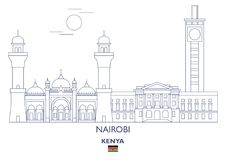 Nairobi City Skyline, Kenya. Nairobi Linear City Skyline, Kenya Royalty Free Stock Images