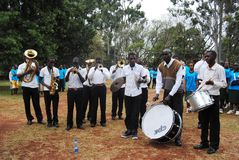Nairobi Hospice Charity Walk. To raise funds for its patients in Nairobi Kenya music band entertain participants Stock Photography