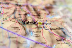 Nairobi on map. Close up shot of Nairobi. is the capital and largest city of Kenya Royalty Free Stock Images
