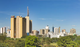Nairobi Park And Skyscrapers Panorama, Kenya Stock Images