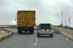 Nairobi roads and streets. An overtaking of a vehicle on Thika Super Highway Royalty Free Stock Photo