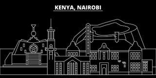 Nairobi silhouette skyline. Kenya - Nairobi vector city, kenyan linear architecture, buildings. Nairobi line travel. Nairobi silhouette skyline. Kenya - Nairobi Royalty Free Stock Photo