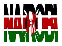 Nairobi text with flag Royalty Free Stock Photos