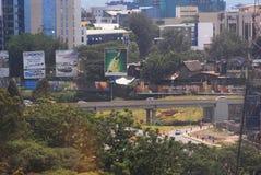 Nairobi Uhuru Highway bridge. Panorama of Nairobi from the start of Uhuru highway Stock Image