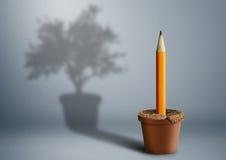 Naissance d'idée, concept créatif, crayon s'élevant du pot Images libres de droits