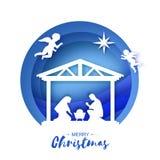 Naissance de bébé Jésus du Christ dans la mangeoire Famille sainte magi anges Étoile de Bethlehem - comète est Noël de nativité illustration stock