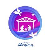 Naissance de bébé Jésus du Christ dans la mangeoire Famille sainte magi anges Étoile de Bethlehem - comète est Noël de nativité illustration de vecteur