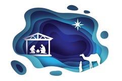 Naissance de bébé Jésus du Christ dans la mangeoire Famille sainte magi Trois rois et étoiles sages de Bethlehem - comète est illustration stock