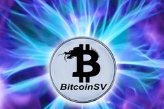 Naissance ou fourchette de cryptocurrency de BSV image stock