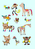 Naive animal set Royalty Free Stock Images